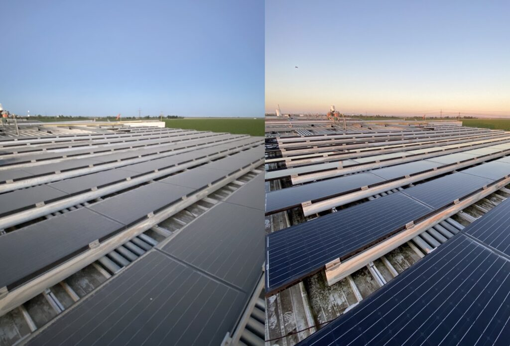 agricultural solar panel cleaning before and after bay area